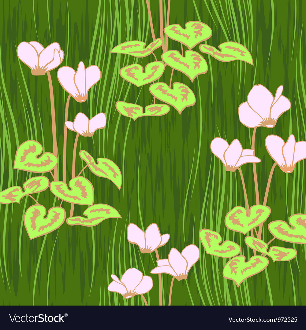 Seamless ciklamen flowers pattern background vector