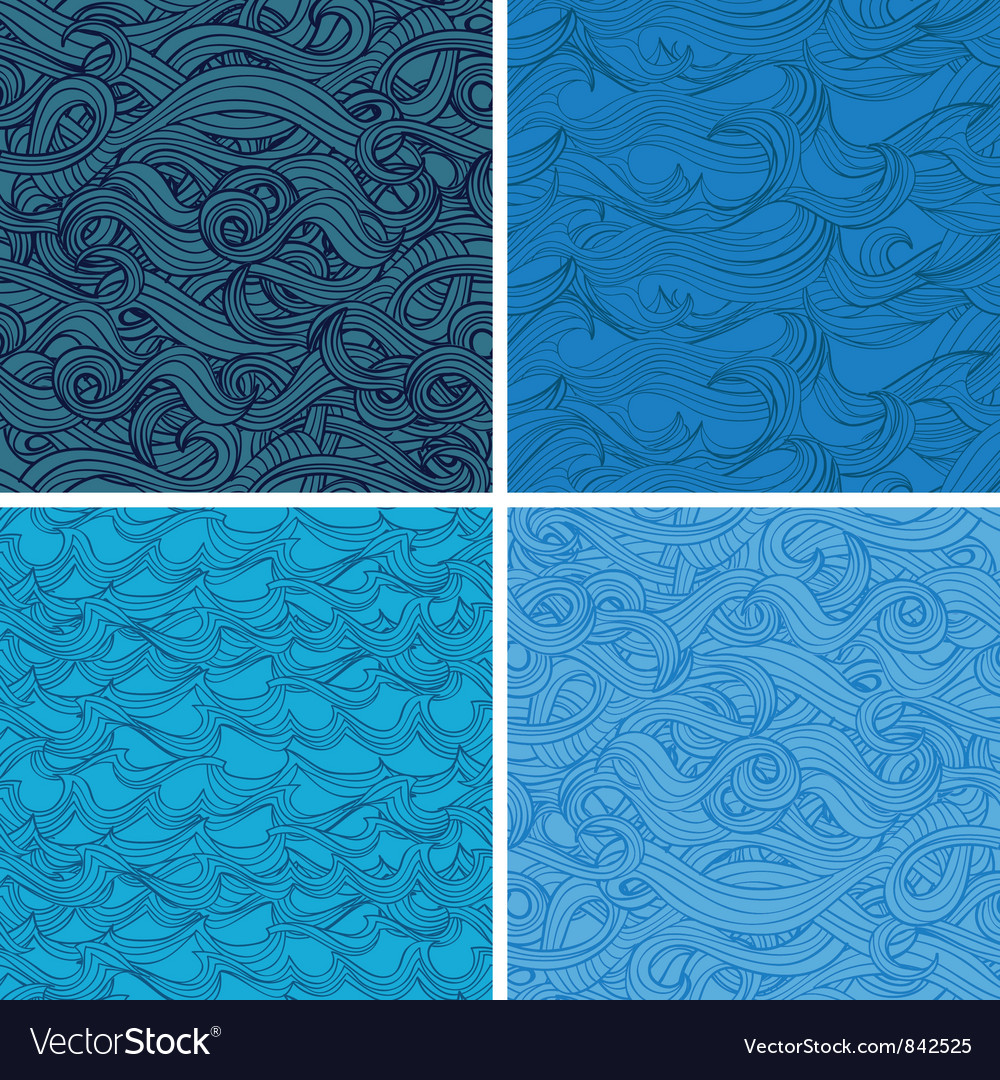 Set of seamless pattern with hand-drawn waves vector