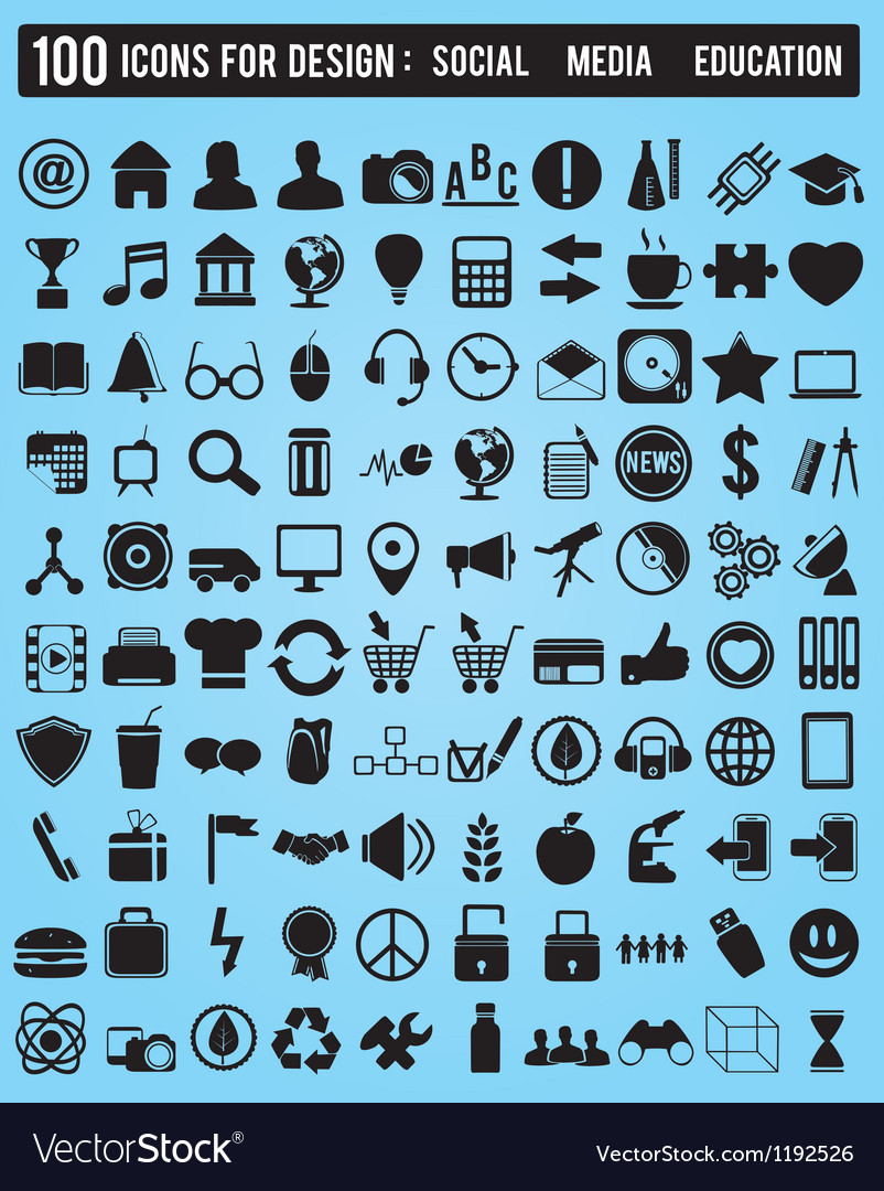 Set 100 various icons for design vector
