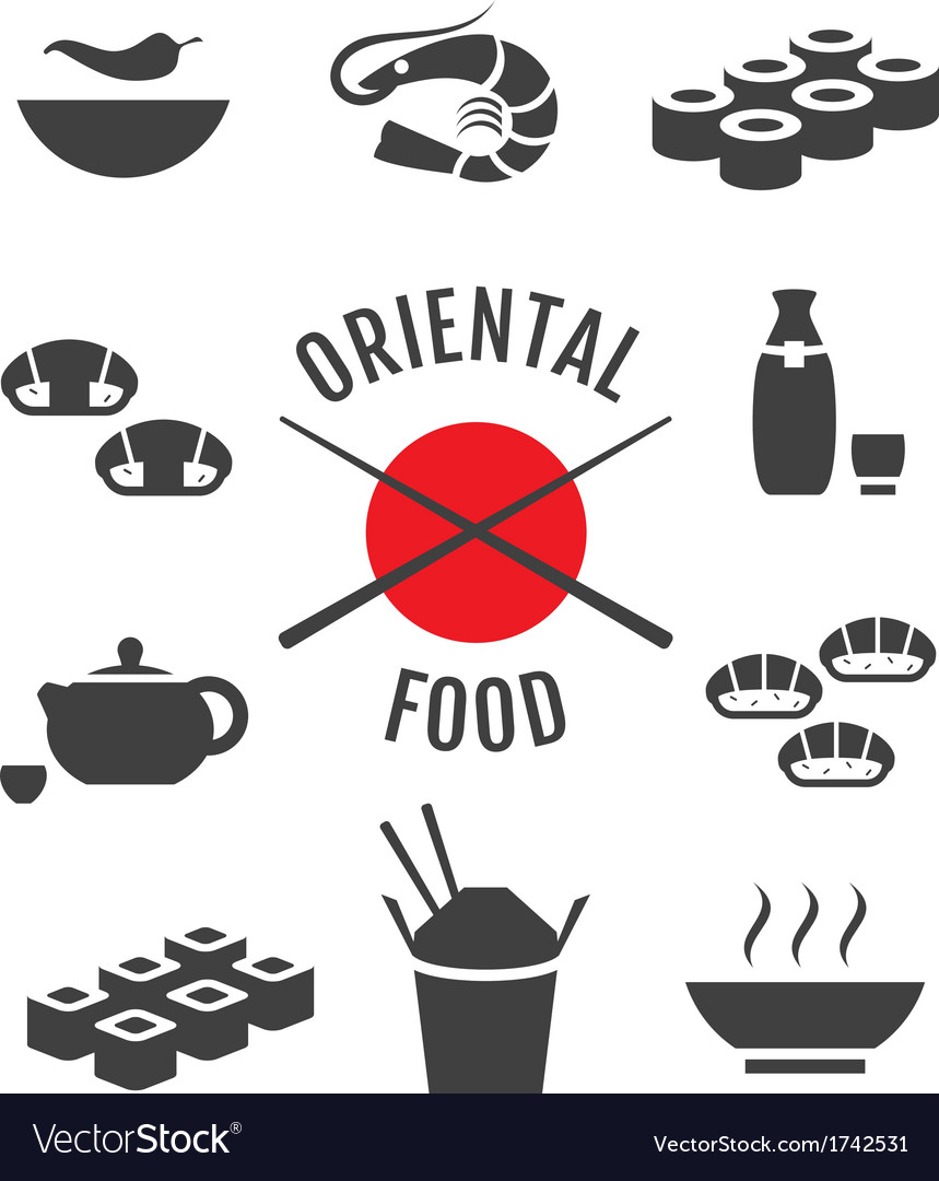 Set of oriental japanese food icons vector