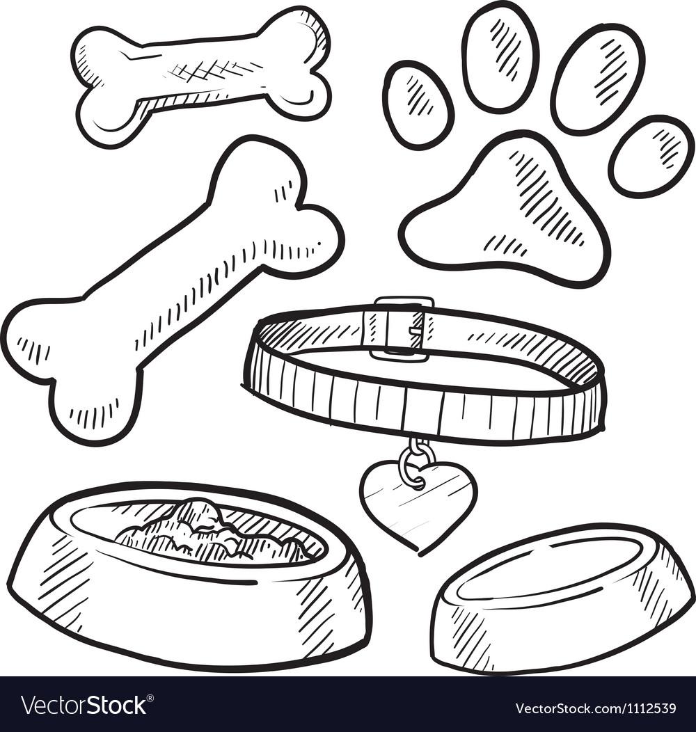 Doodle pet dog tag bone paw print biscuit vector