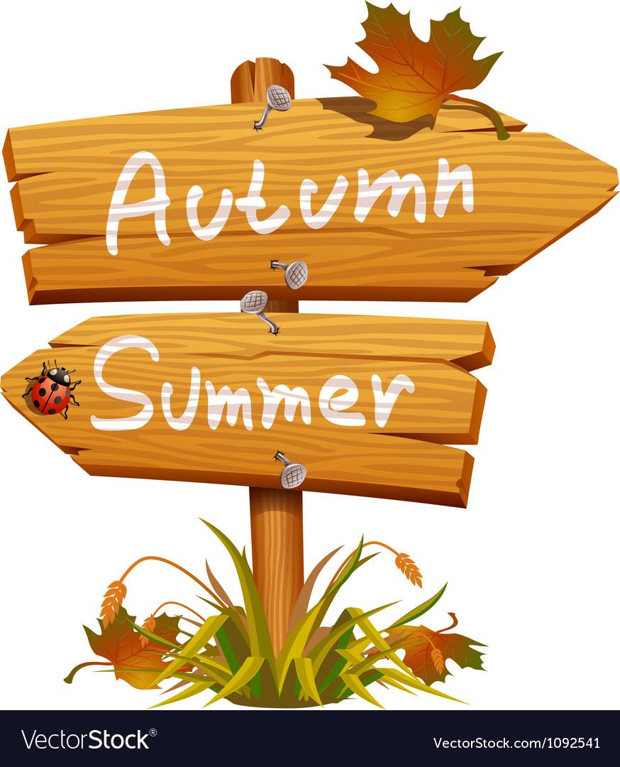 Autumn wooden arrow board vector