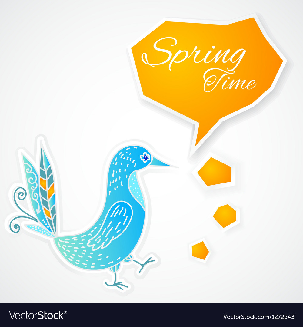 Blue bird with bubble on white background vector