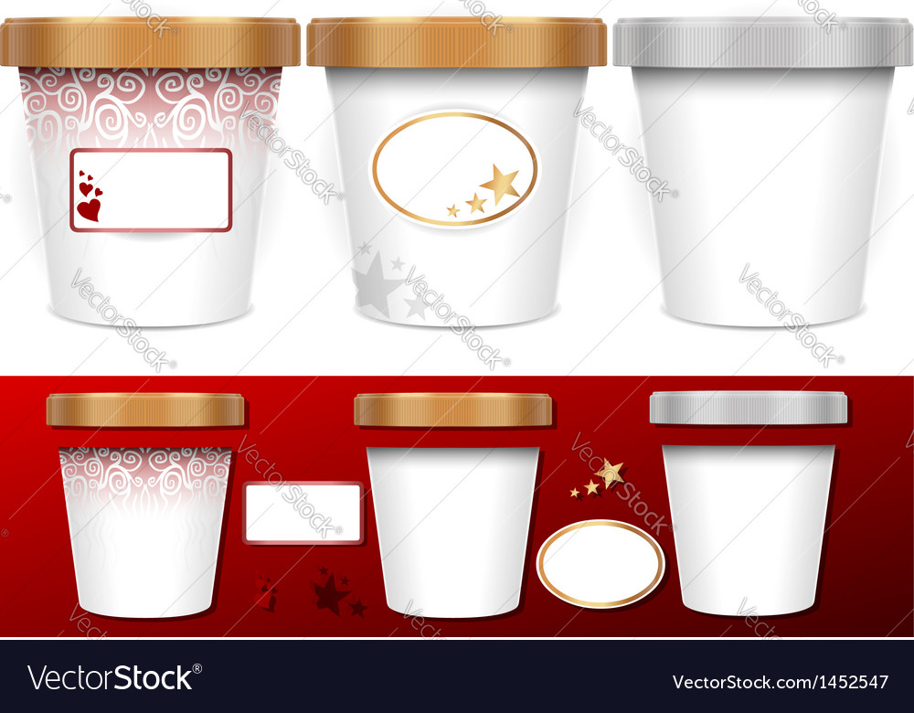 Three generic cup for ice cream with labels vector