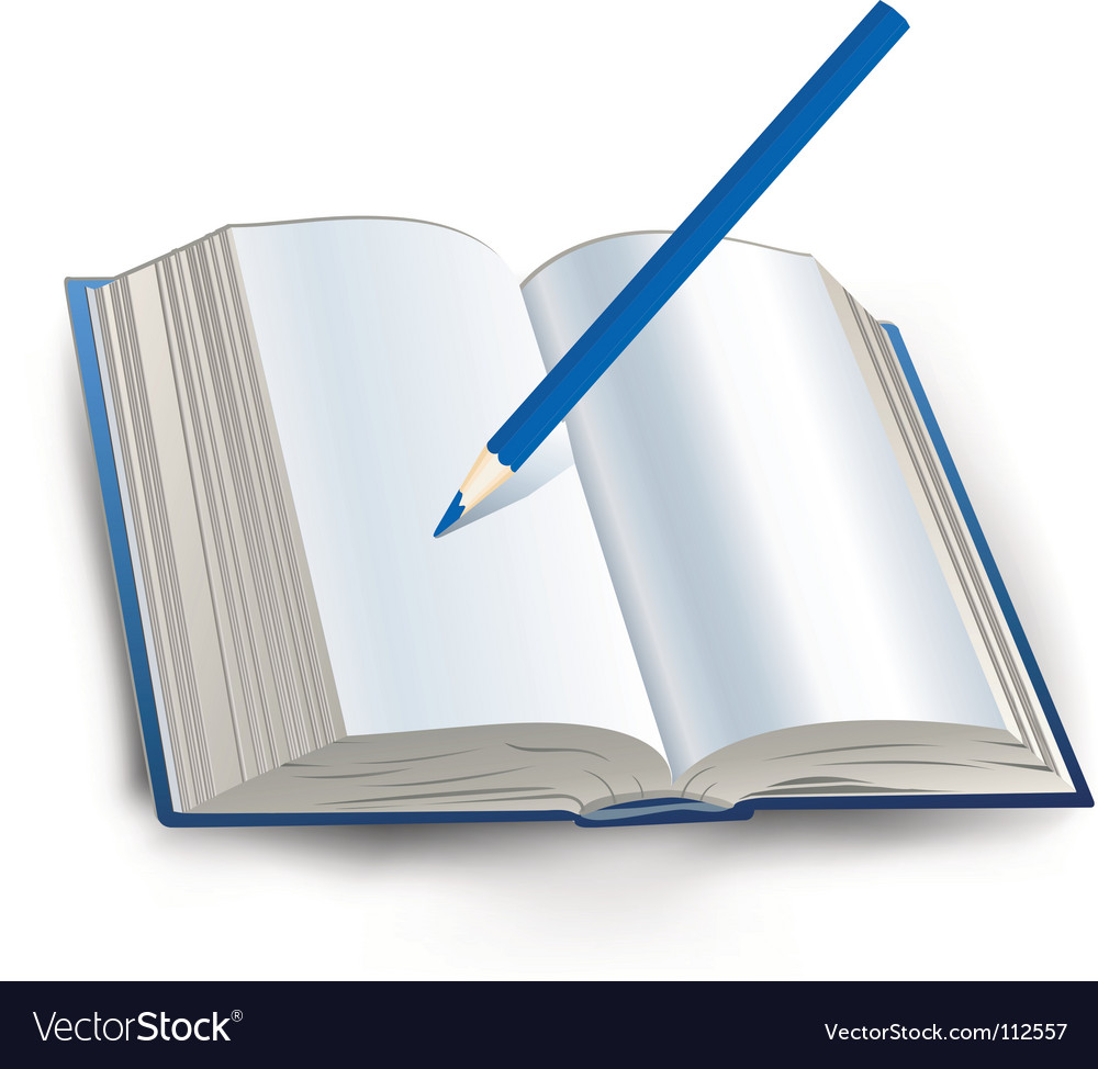 Book with pencil vector