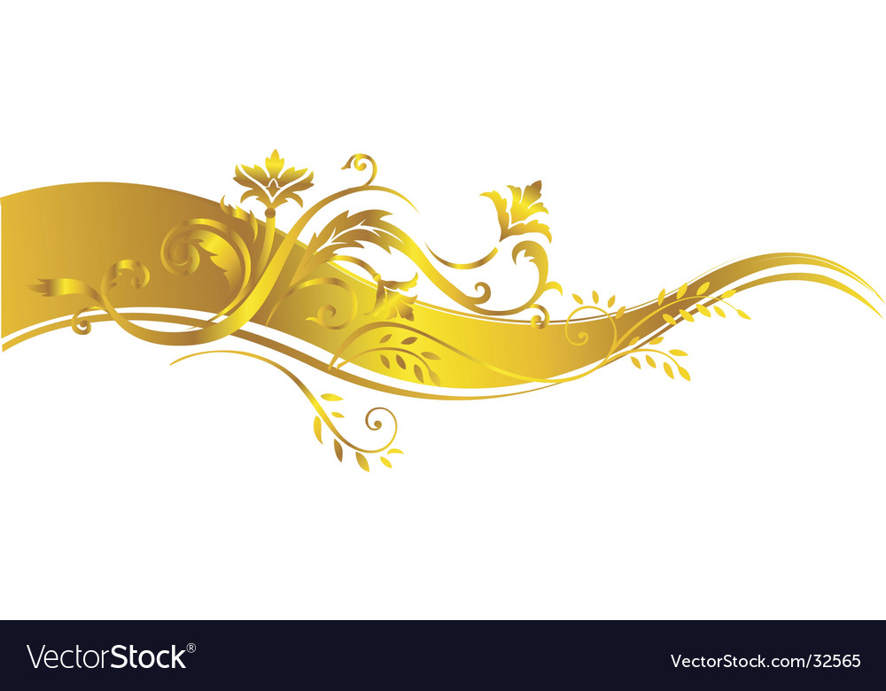 Gold vegetative ornament vector