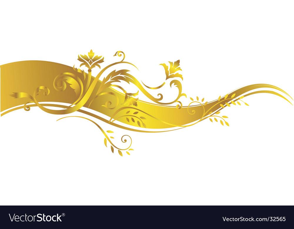 Gold vegetative ornament vector