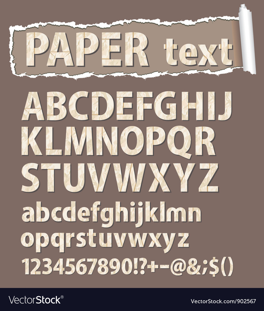 Paper font letters numbers and orthograph vector