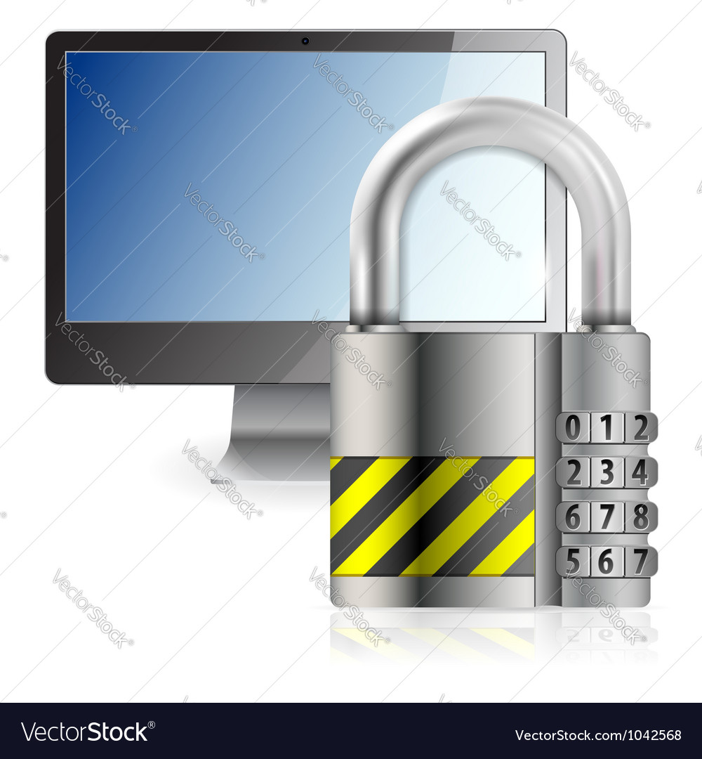 Safe computer concept vector