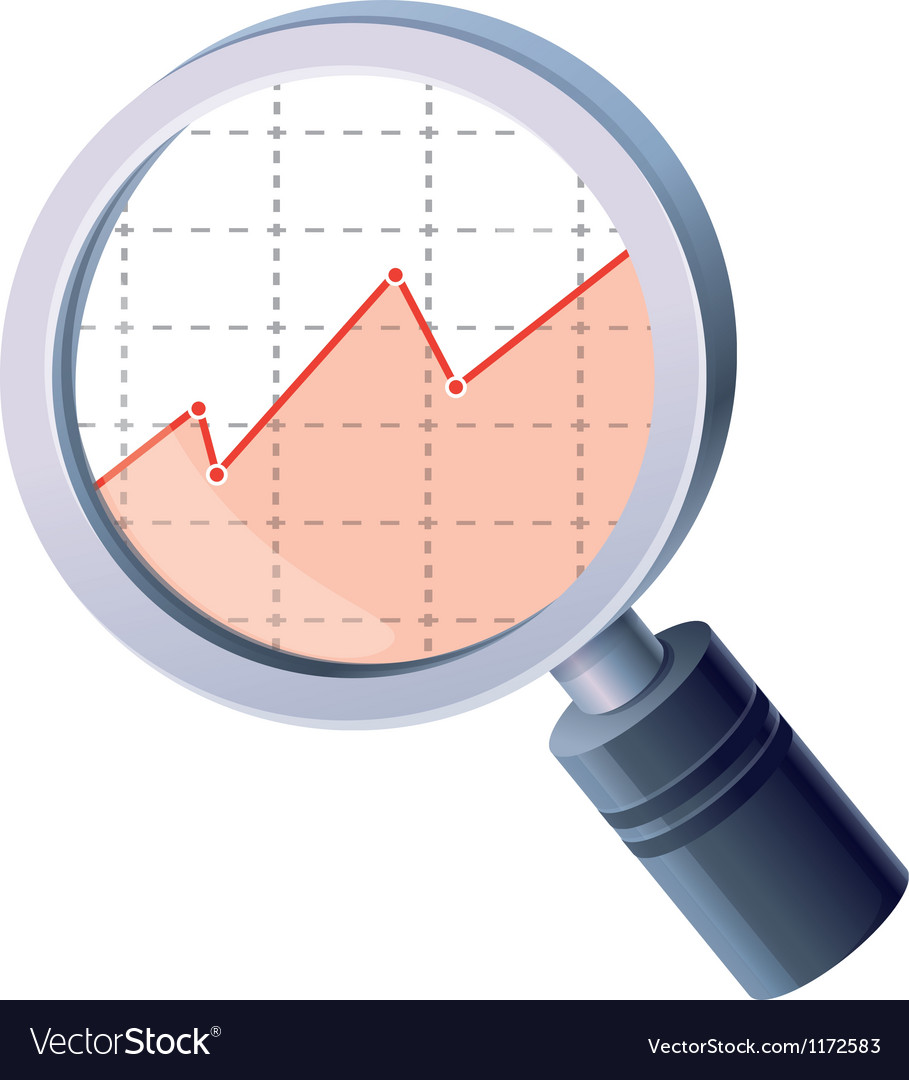 Analytics concept - magnifing glass and gra vector