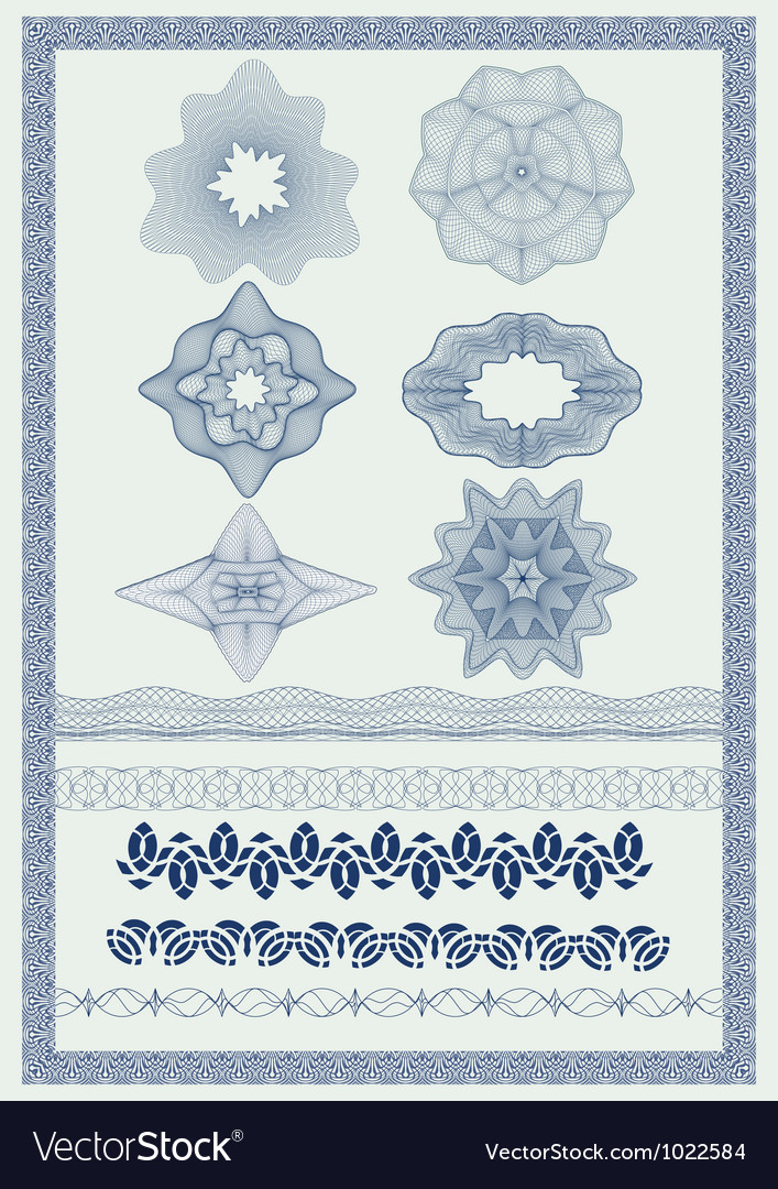 Pattern for currency certificate or diplom vector