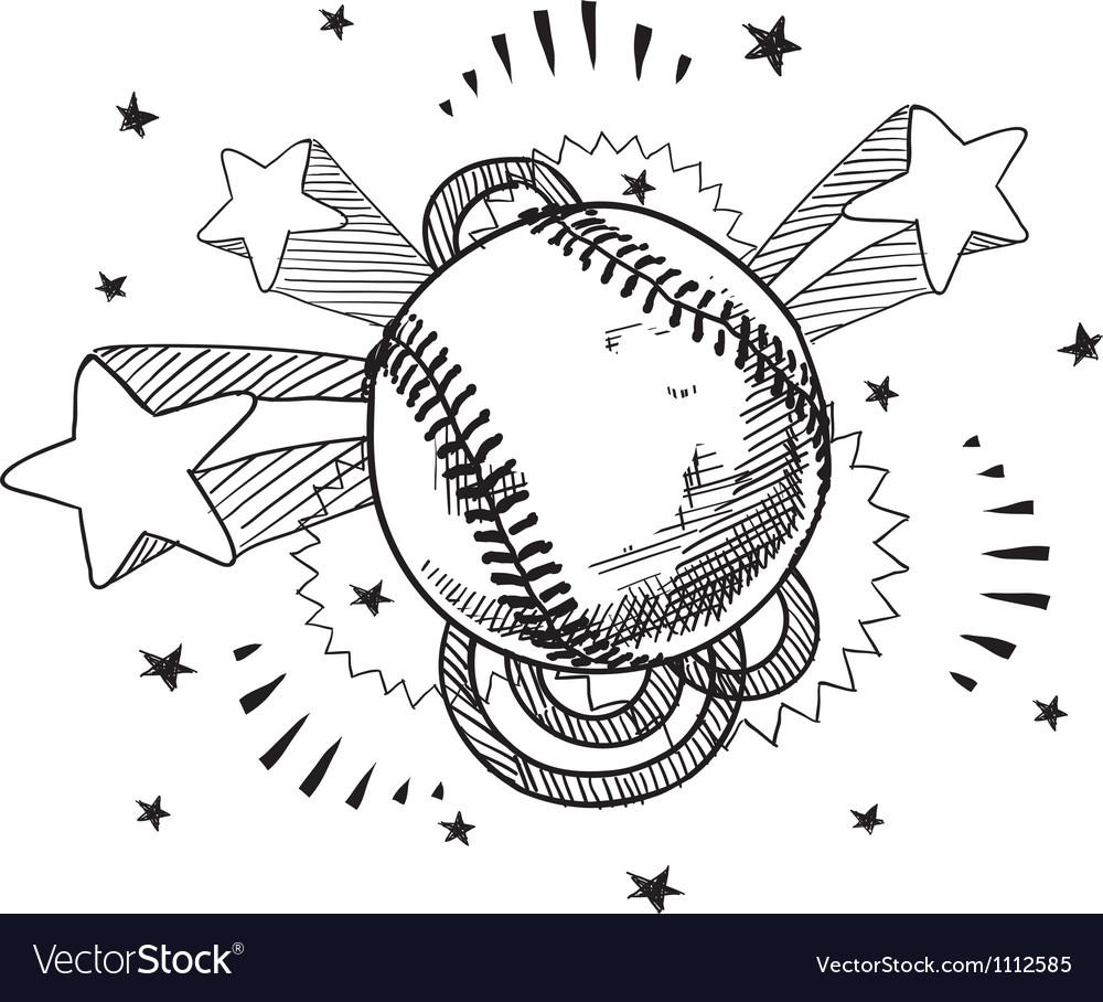 Doodle pop baseball vector