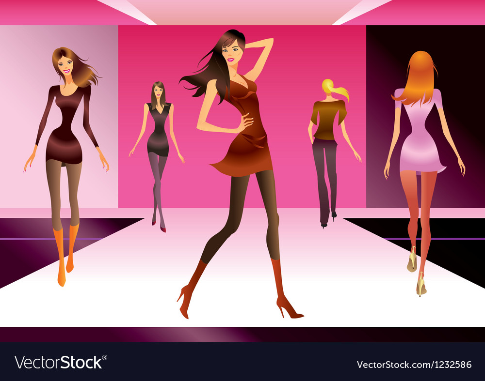Fashion models in review of a new collection vector