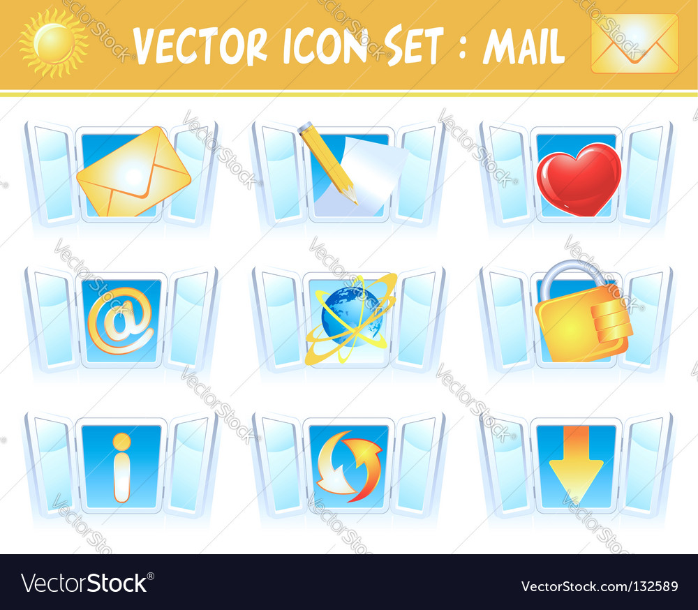 Set internet mail icons vector