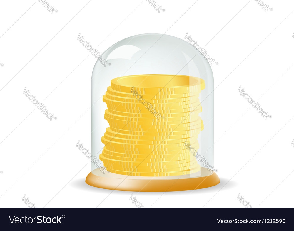 Coins covered with a glass cover vector