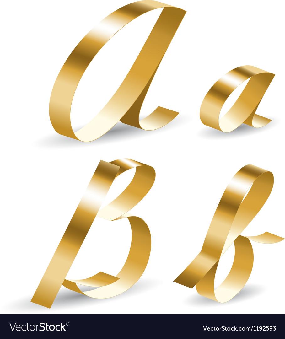 Ribbon alphabet ab vector