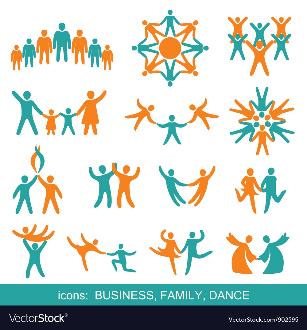 Set of icons business family dance vector