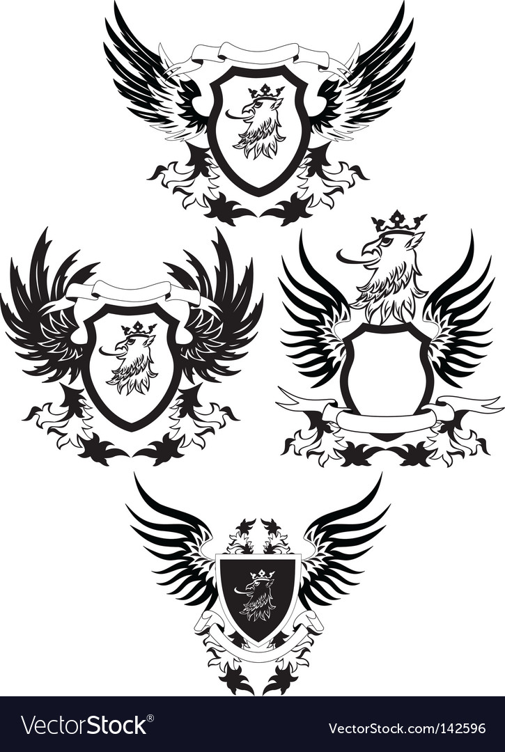 Set of grunge shields vector