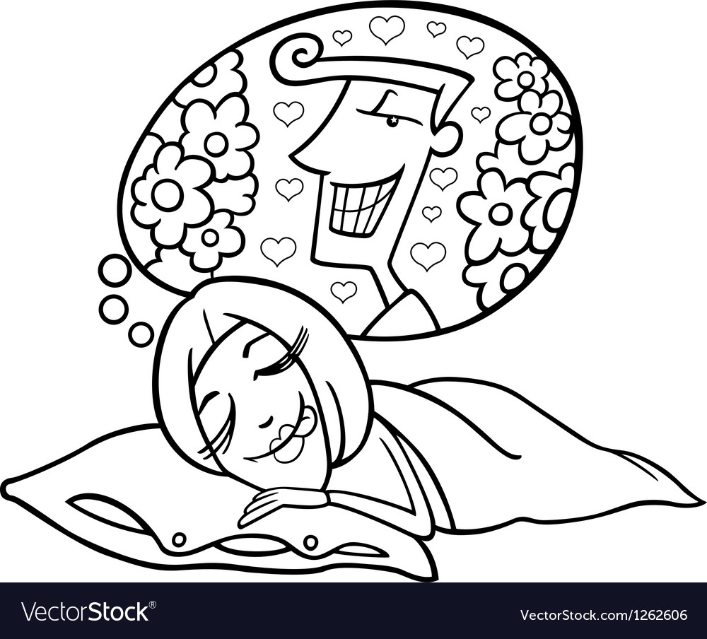 Funny woman dreaming about man vector