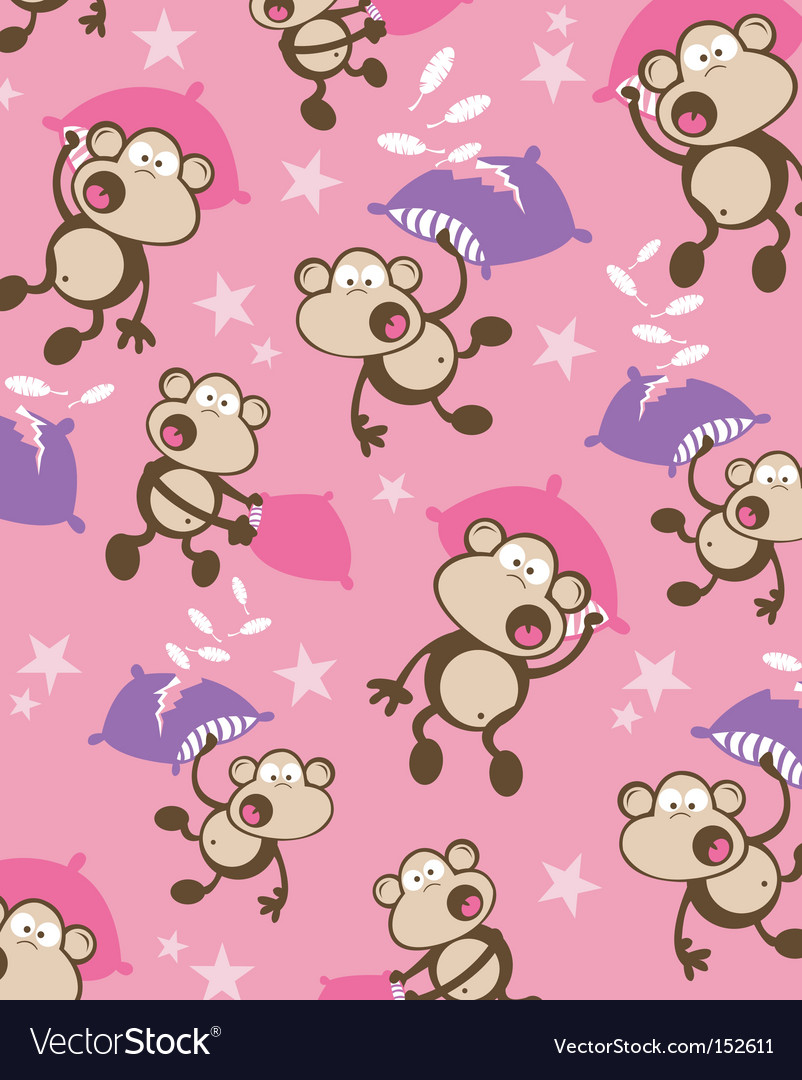 Pillow fighting monkeys vector