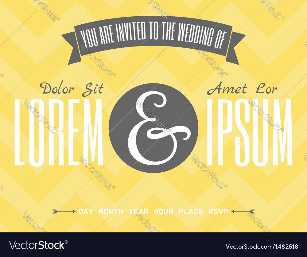 Retro design wedding invitation template vector