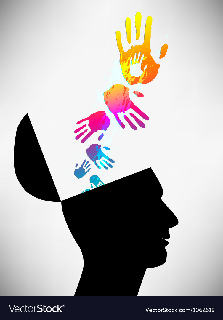 Conceptual of a open minded man the mental state vector
