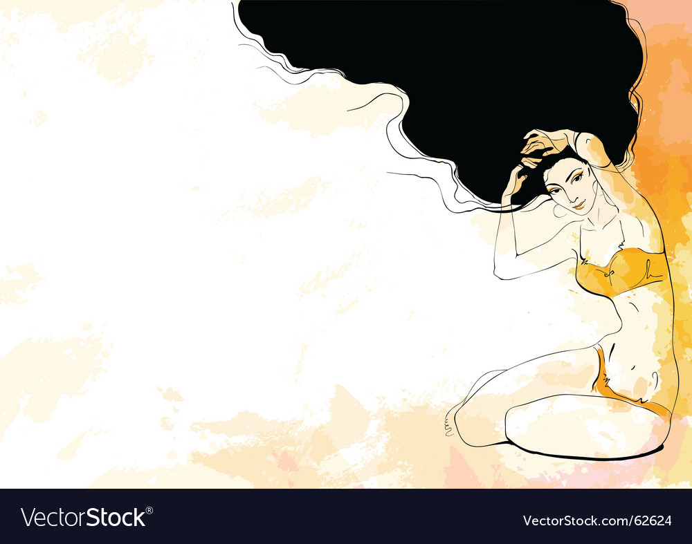 Women in orange lingerie vector