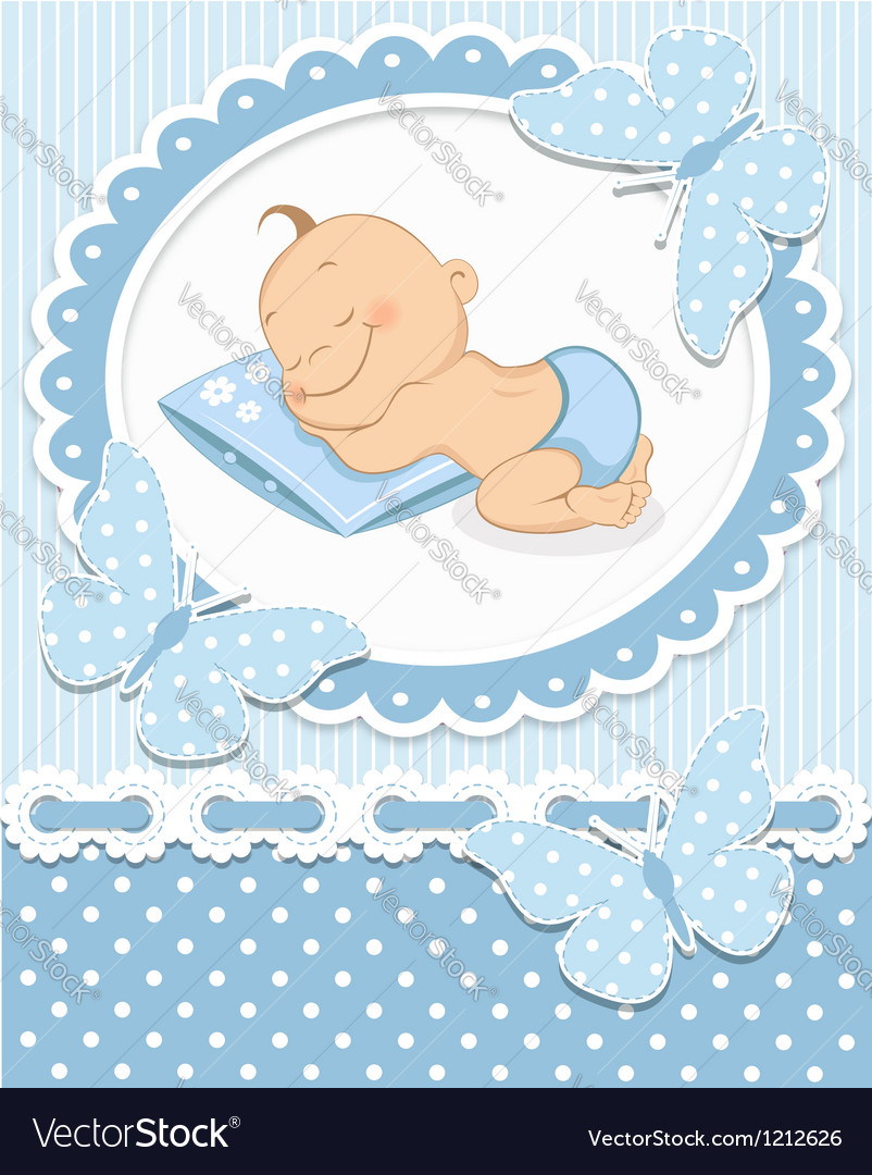 Sleeping baby boy vector