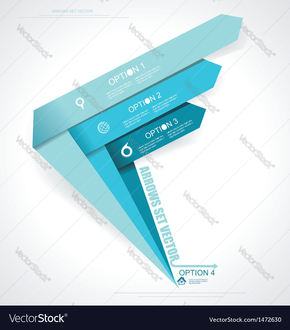 Set arrows minimal infographics vector