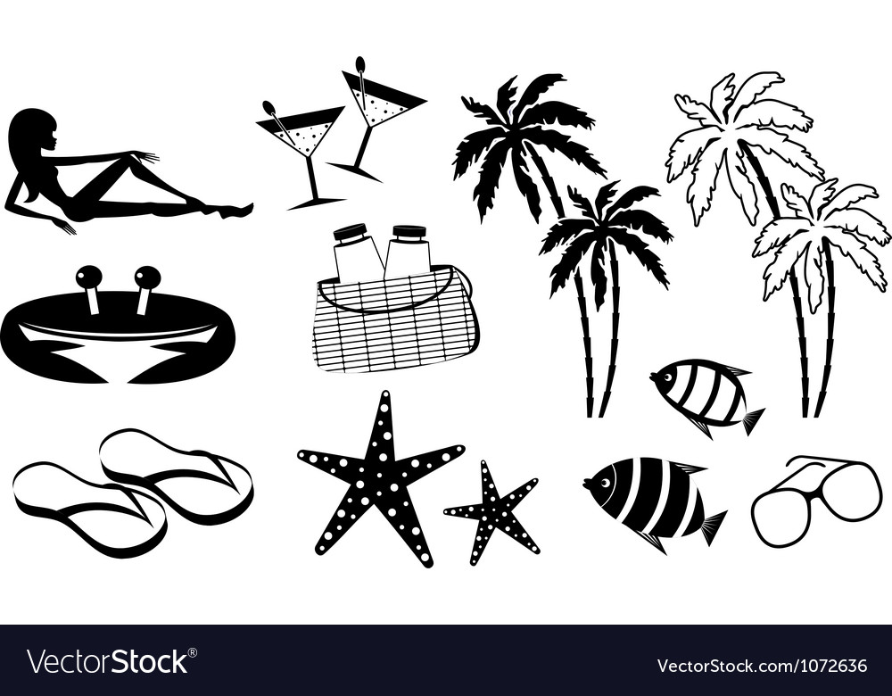 Set of icons of summer holiday on the coast vector