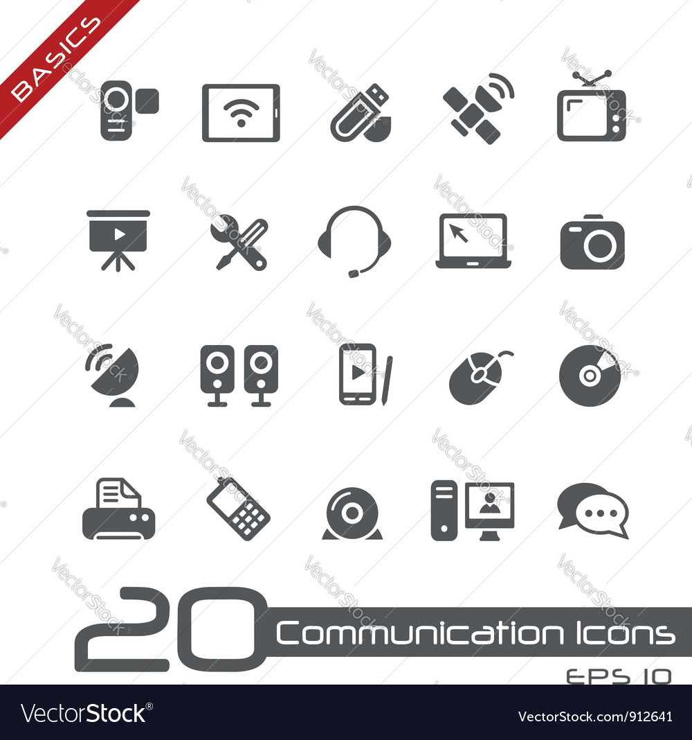 Communications icons basics vector