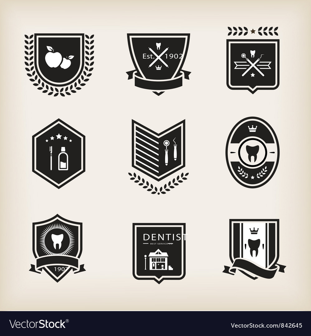 Dentist badges vector