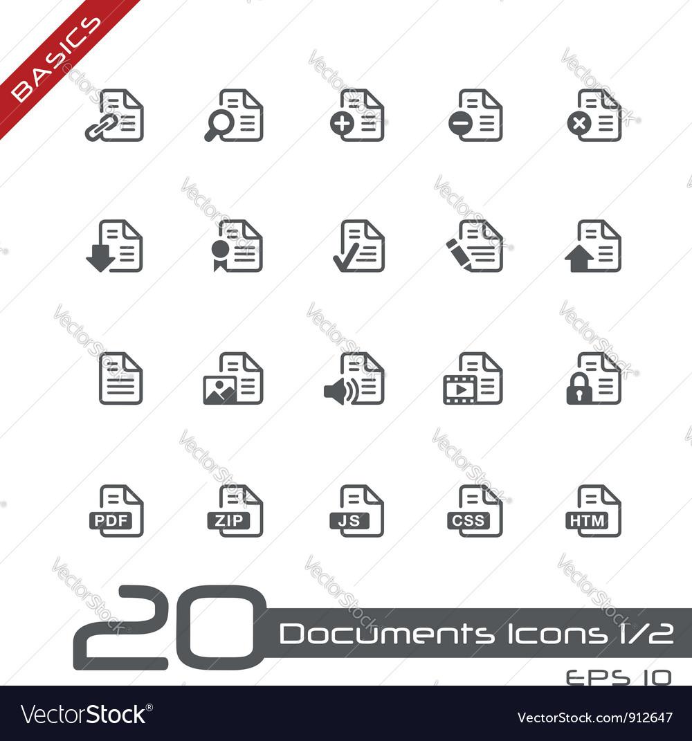 Documents icons basics vector