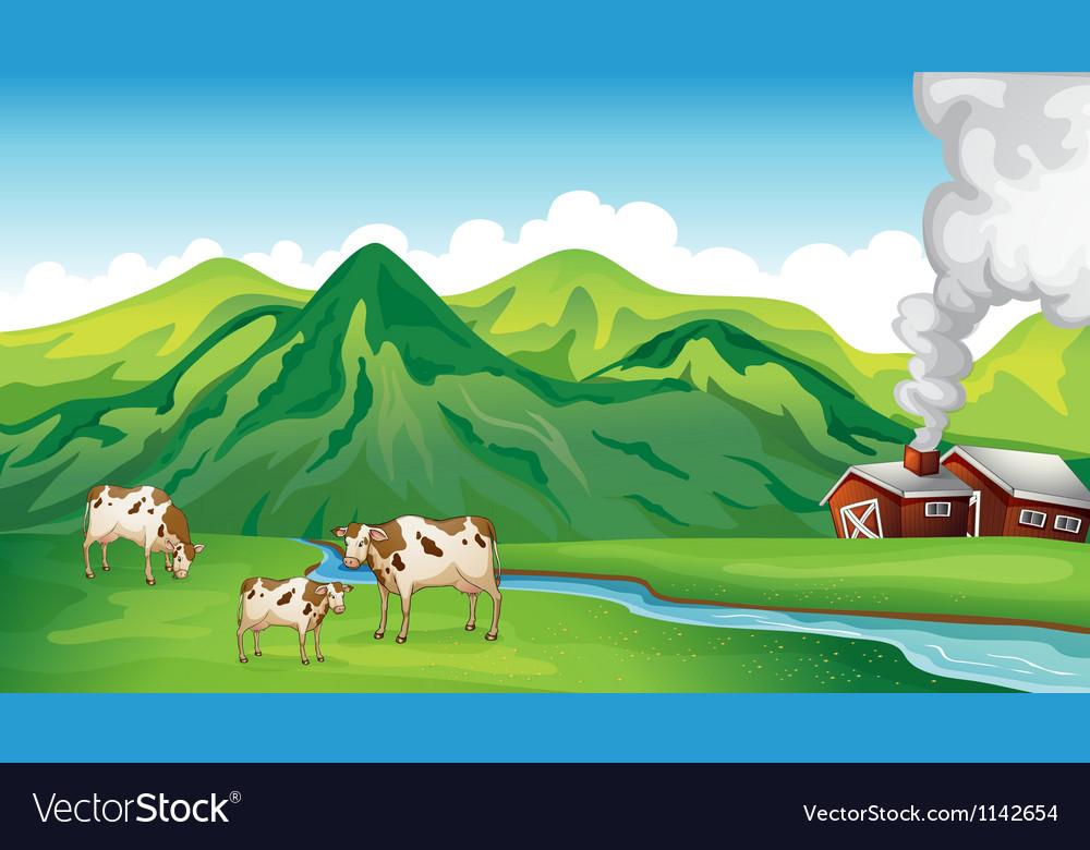 A farm house and cows vector