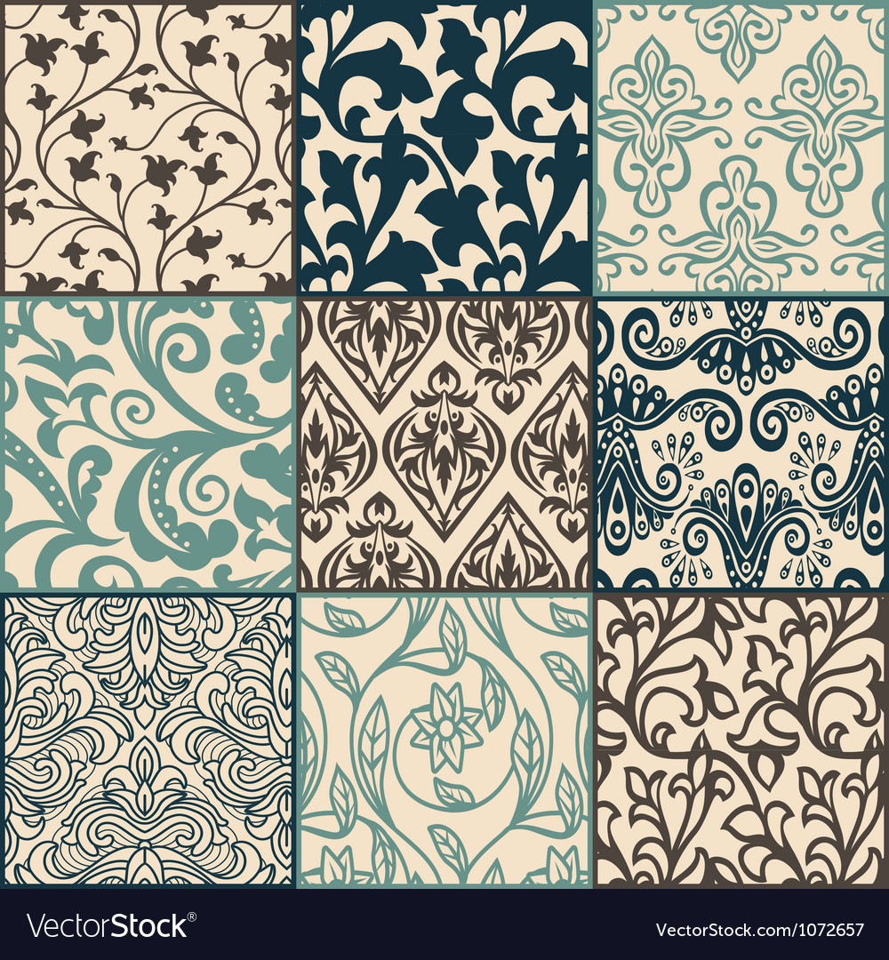 Floral pattern swatches vector