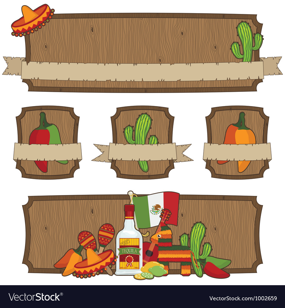 Mexican emblems vector