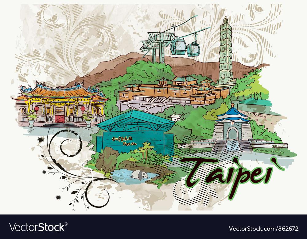 Taipei doodles vector