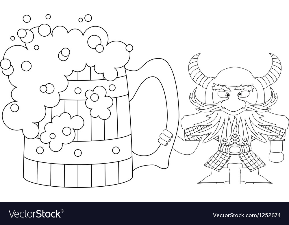 Dwarf with great beer mug contour vector