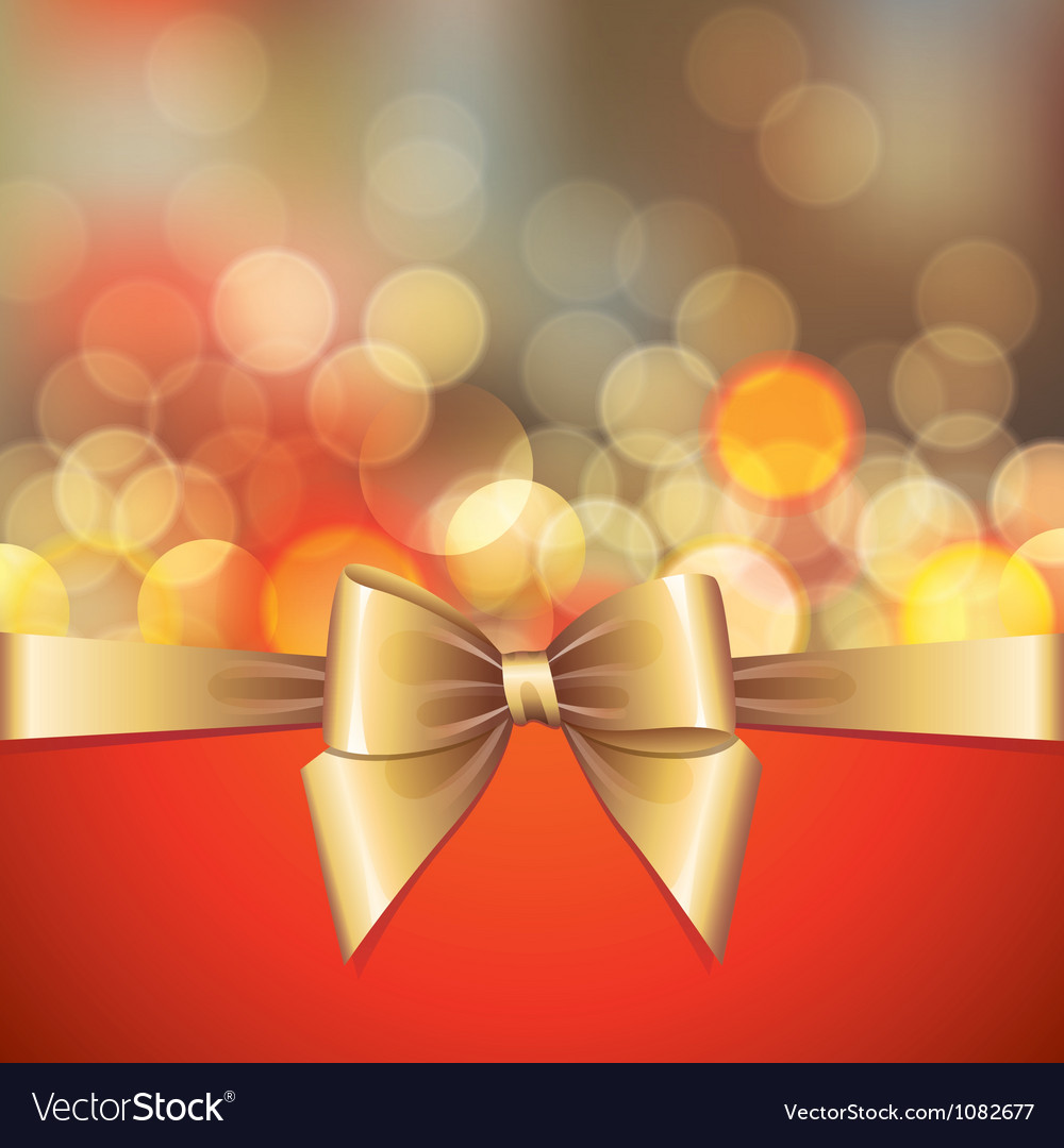 Gold blurred lights and bow vector