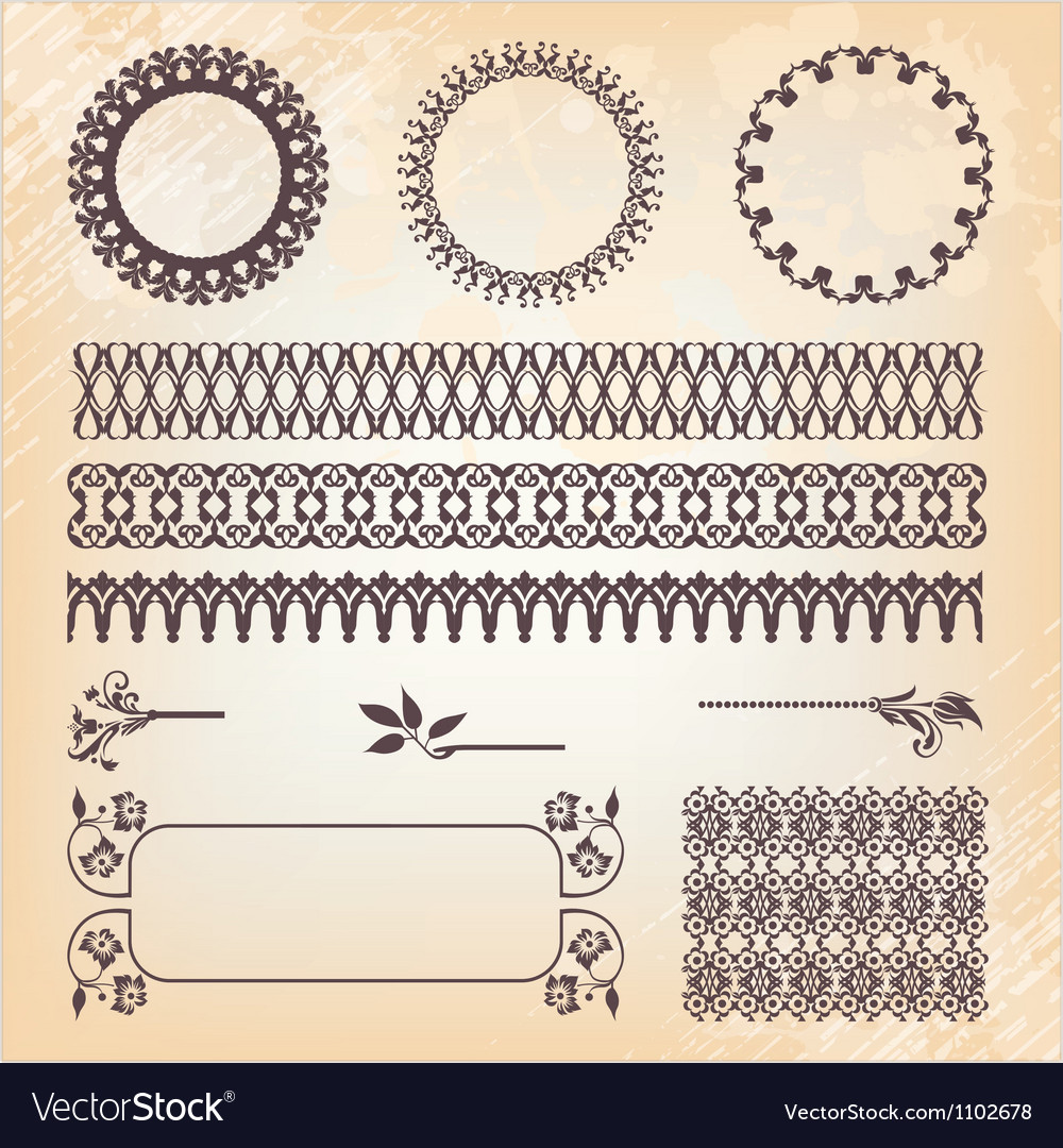 Vintage style ornate design ornaments and page vector