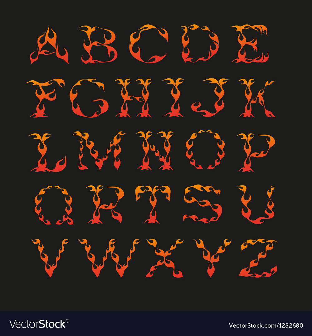Alphabet in the shape of fire vector
