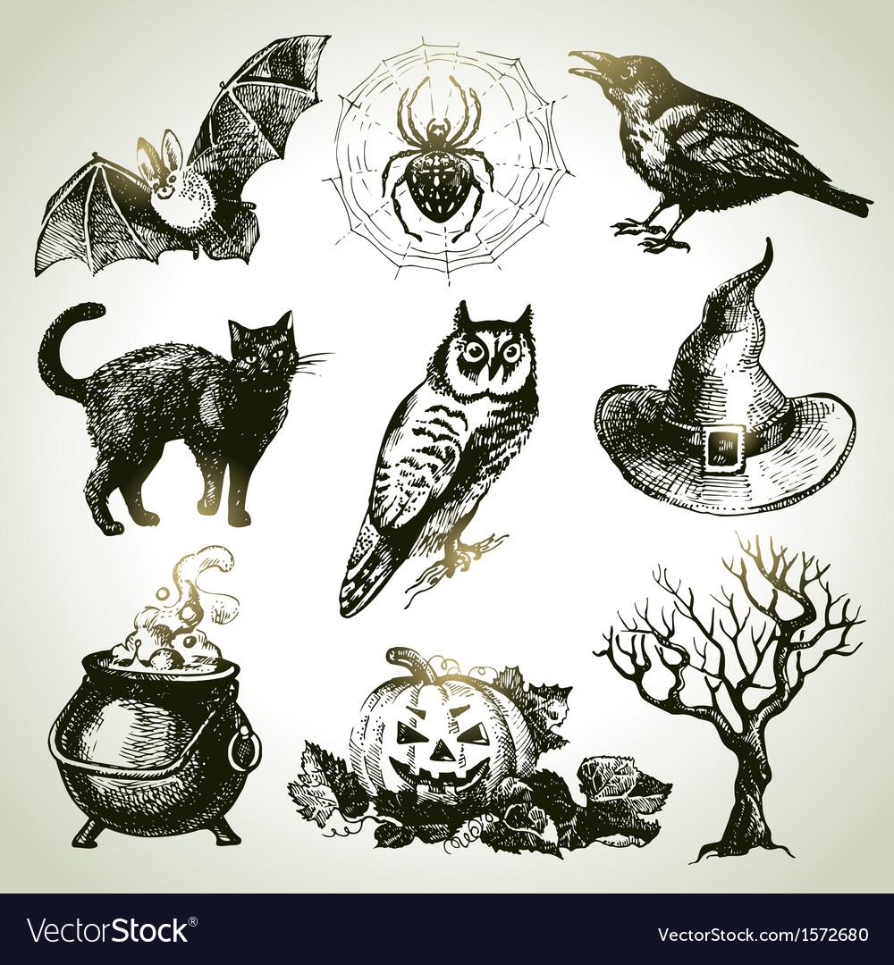 Hand drawn halloween set vector