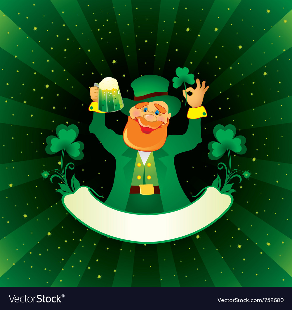 Patrick with beer and shamrock vector