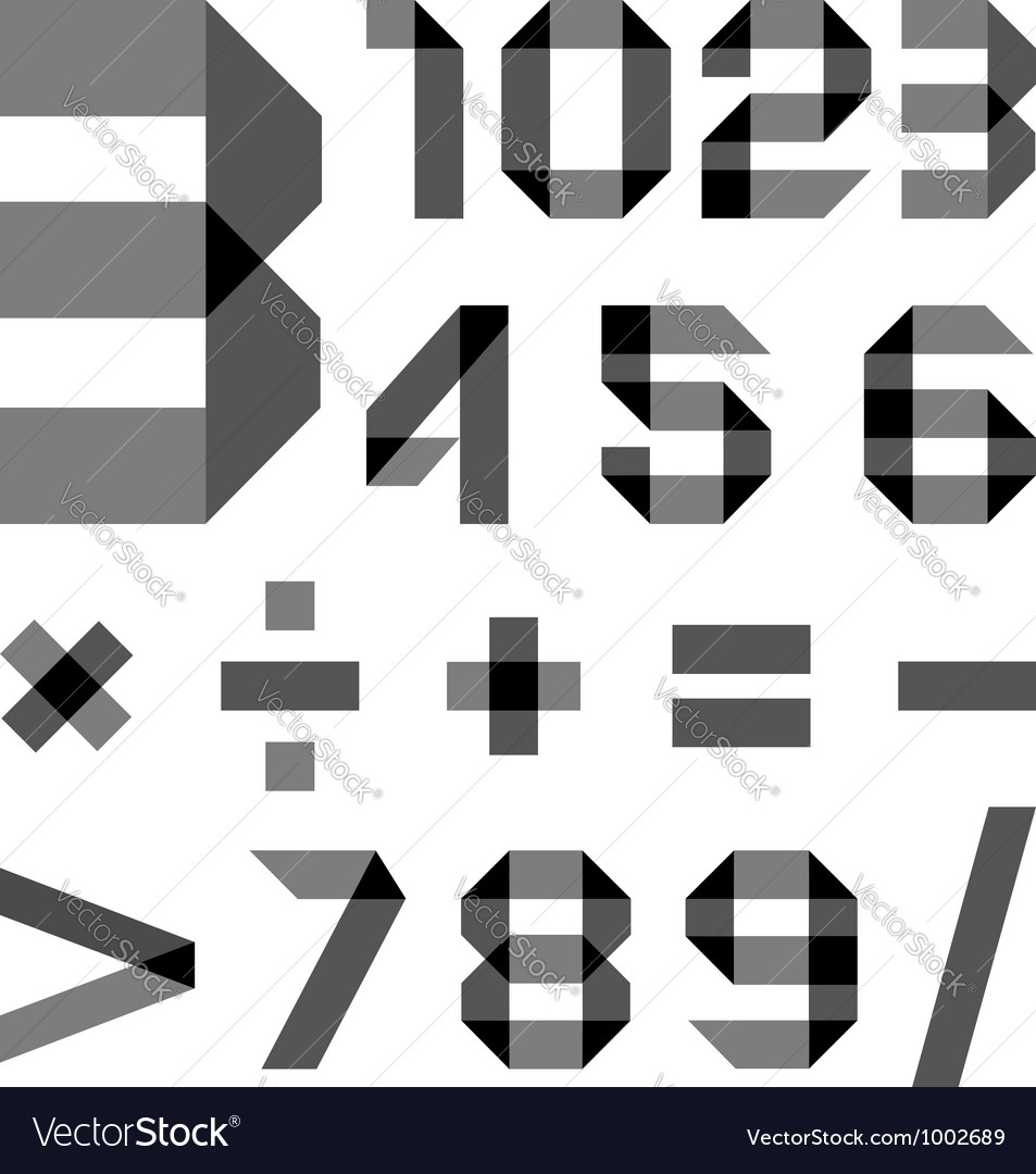 Font from a paper transparent tape  numerals vector