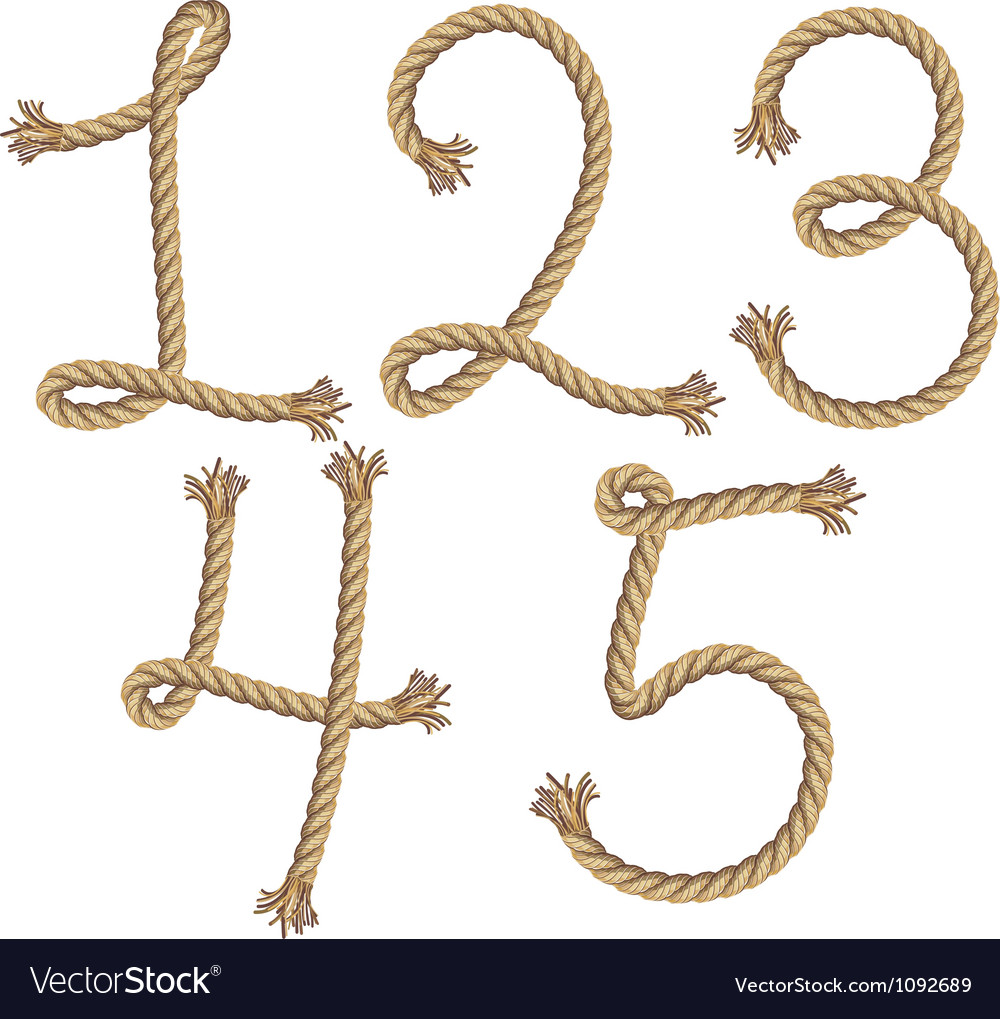 Rope number alphabet vector