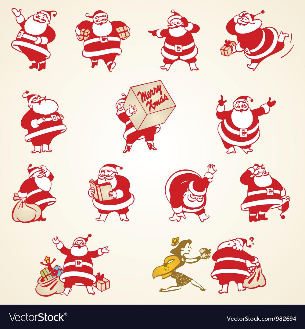 Christmas santa claus vintage vector
