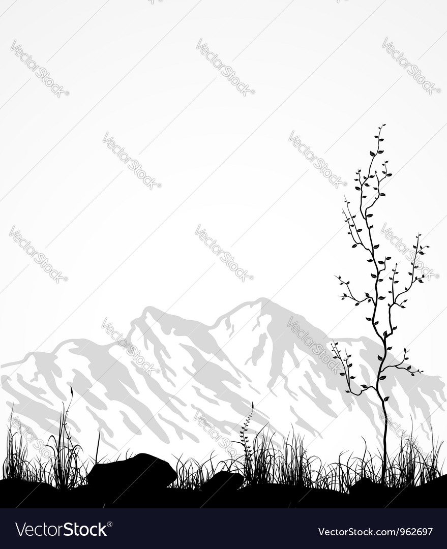 Landscape with mountains glass and tree vectorMountain Landscape Outline