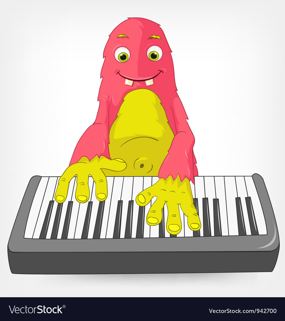 Funny monster pianist vector