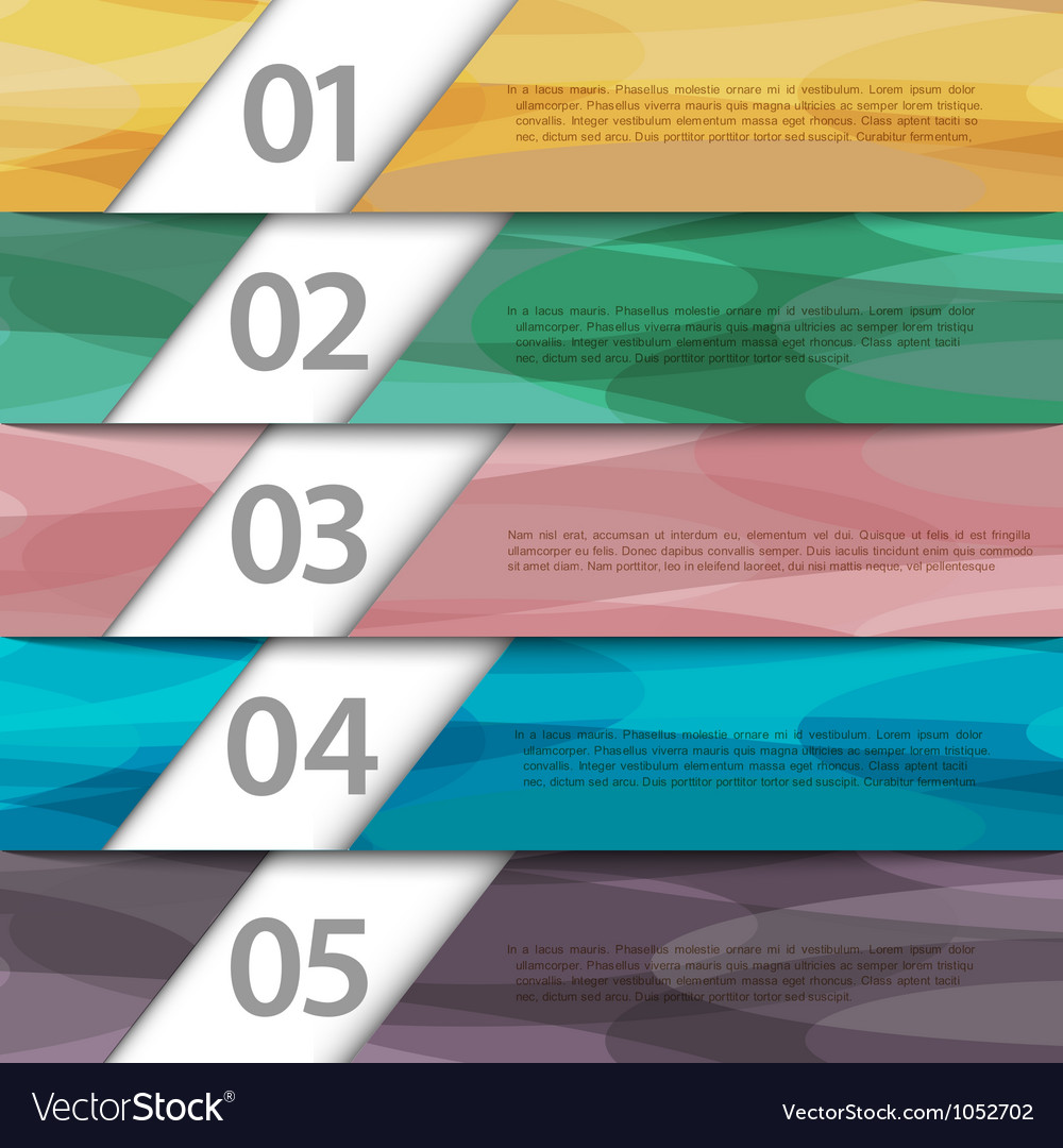 Colorful paper numbered banners vector