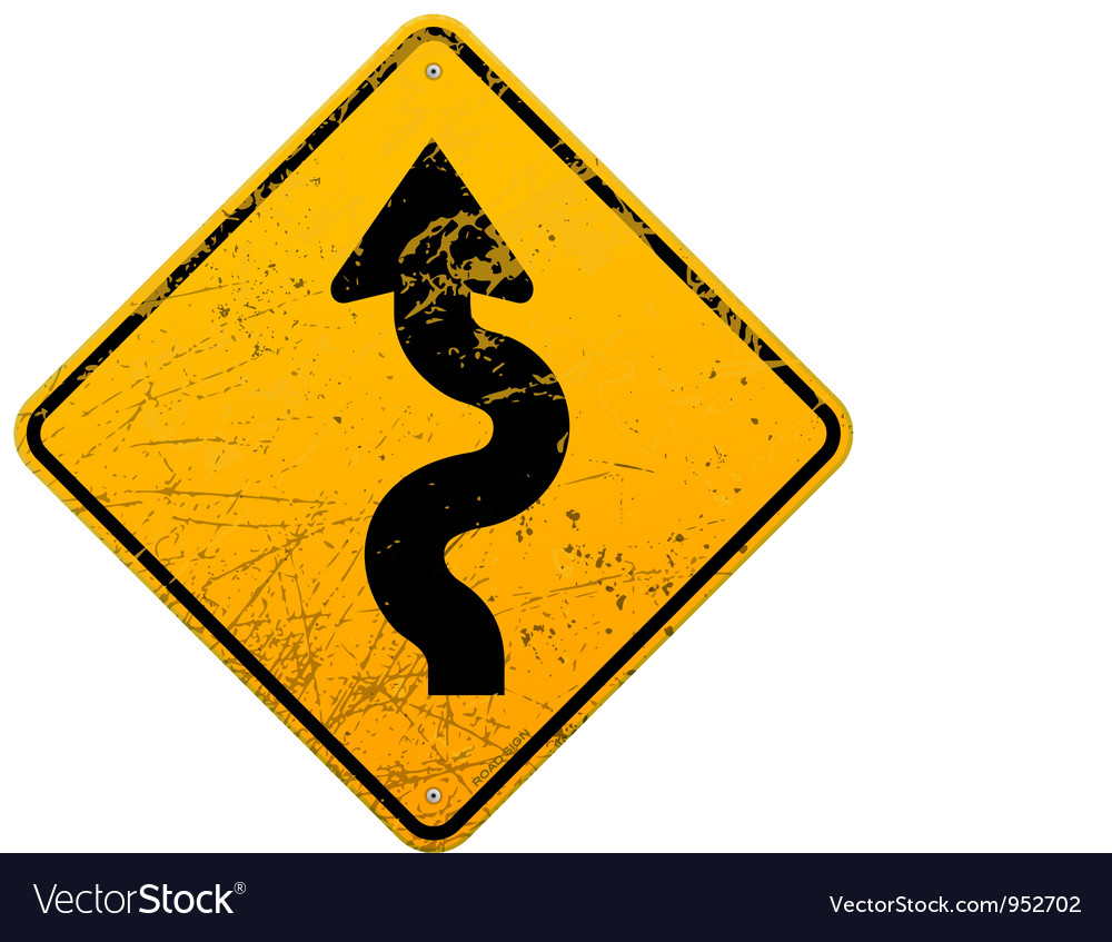 Vintage winding roadsign vector